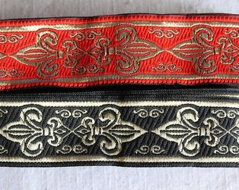 Red and black jacquard ribbon trim