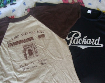 Vintage 80's Lot of 2 Packard National Meet Detroit Michigan two black and raglan sleeve gasser 1982 Car Club hot rod RARE T shirt M