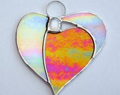 Abstract Stained Glass ornament (Angel Heart) in red and white opalescent iridescent glass