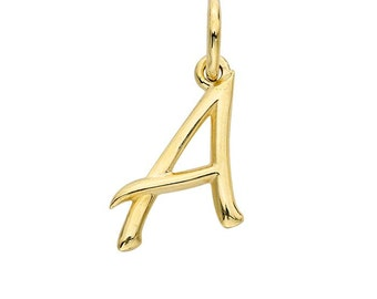 14K Yellow Gold Alphabet Charm, from A to Z