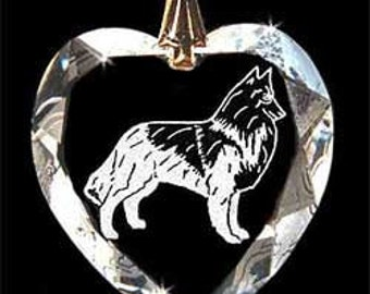 Belgian Tervuren dog Jewelry Custom Crystal Necklace Pendant, Suncatcher made with any Animal or Name YOU Want, Gift, Dog Lover, Handlerr
