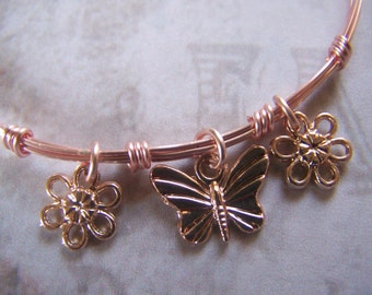 Rose Gold Bangle Wire Wrapped Bracelet
