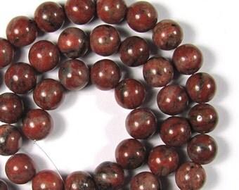 Red Sesame Jasper 8mm Round Gemstone Beads