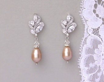 Champagne Blush Pearl Earrings, Blush Bridal Earrings, Crystal & Pearl Drop Earrings, Champagne Bridal Jewelry, FLEUR