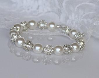 Pavè Crystal Pearl Bracelet,  Pearl Bridal Bracelet, Ivory White Pearl Cuff,  Pearl Bridesmaids Bracelet, CARMEN 3