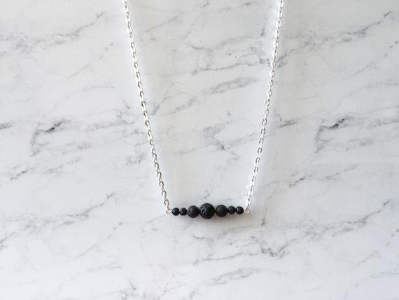 Moon Phase Minimalist Lava Bead Essential Oil Diffuser Necklace