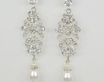 Bridal Crystal Stud Earrings, Silver Chandelier Earrings, Swarovski Pearls, Olivia - Ships in 1-3 Business Days