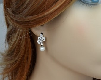 Bridal Earrings, Cubic Zirconia Crystals, White Pearls, Wedding Jewelry, Lissa - Ships in 1-3 Business Days