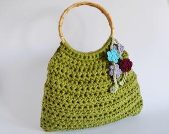 Top handle bag Handmade green bag bamboo handle purse Romantic bag 1970 Summer crochet bag