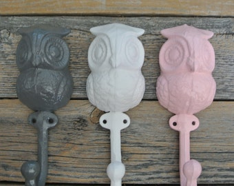 Owl Wall Hook Set, Cast Iron Wall Hook, Owl Hook