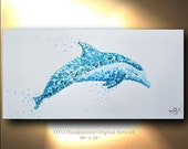 Dolphin Original art on canvas Whale painting Ocean animal art unique textured Beach artwork By OTO