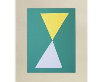 Large screenrint, Yellow Over Grey, original fifties inspired silkscreen print, Somerset Grey paper by Emma Lawrenson.