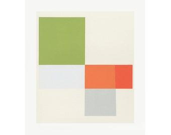 Color block modernist screenprint in orange and green,  original handmade work on paper, Mid Century Modern, Emma Lawrenson