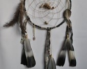 Medium Dreamcatcher Recycled Grey Patterned Fabric Tigers Eye Rose Quartz Wood Pigeon Ostrich Feathers Toggle Shells Spirit Web Dream Tribal