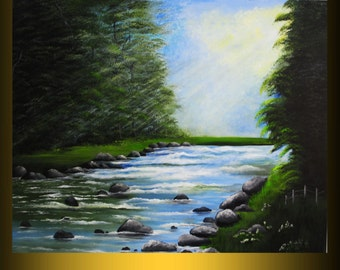 "landscape painting xx-large acrylic canvas 36""x48"" contemporary art ready to hang free shipping sale by nithyafinearts"