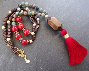 Long Beaded Tassel Necklace Gypsy Jewelry Hippie Bohemian Artisan -  Red Green Wooden Beads