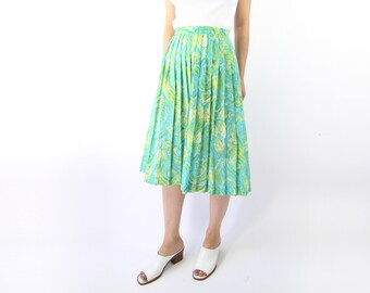 VINTAGE 1950s Pleated Skirt Green Floral