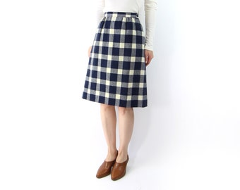 VINTAGE Pendleton Plaid Skirt Blue Wool