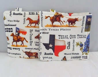 Texas Pot Holders Triple Insulated Pot Holders Hand Made Pot Holders Cotton Pot Holders Gift for Her Gift for Him Hostess Gift Texas Gift