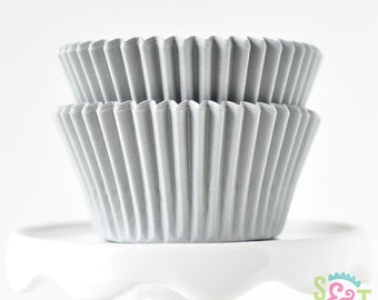 Solid Silver BakeBright GREASEPROOF Baking Cups Cupcake Liners | ~30 count