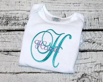 Newborn Girl's Monogram, Baby Girl Monogram, Girl's Initial Shirt,  Going Home Outfit, Hospital Outfit, Baby Shower Gift