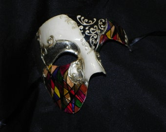 Phantom of the Opera Mask with Multi-Color, Black and Ivory