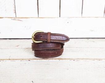 Distressed brown leather skinny vintage belt/brass buckle belt/mens leather belt