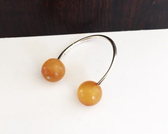 Baltic amber rounds and sterling silver ring