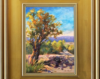"Colorado Tree, Original Oil Painting, Modern Landscape Portrait, Colorful Impressionist, Southwestern Landscape,11""x14"", South West Art"