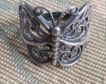 Vintage Sterling Silver Butterfly Insect Ring Hippie Boho 925 Ladies Women Size 6.5