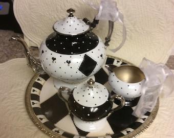 Vintage Silver Plated Tea Set/custom Painted-small