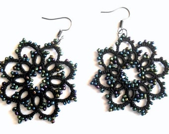 Tatted earrings with glass beads, lace earrings, black lace earrings, black lace jewelry