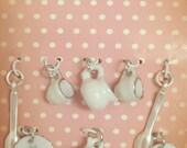 Miniature Charms Teacups Saucers Spoons - Make a Custom Charm Braclet - New 8 pc