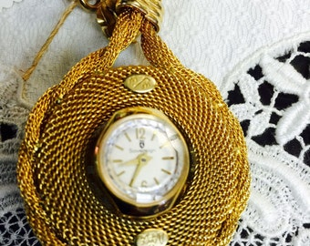 Gold Watch Pendant Necklace Mid Century