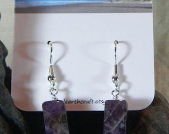 Dark purple amethyst earrings column cube semiprecious stone jewelry February birthstone  packaged in a gift bag 3101