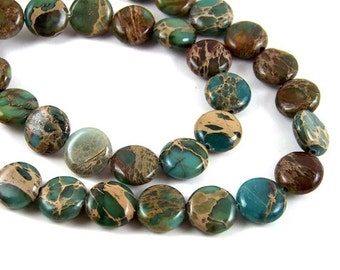 10mm Aqua Terra Jasper coin beads, flat rounds, teal blue & brown gemstone, full and half strands are available  (402S)