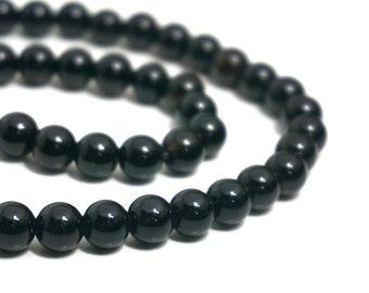 8mm LARGE HOLE Onyx beads, round black gemstone bead with 2.5mm hole, 8 inch strand   (1218S)