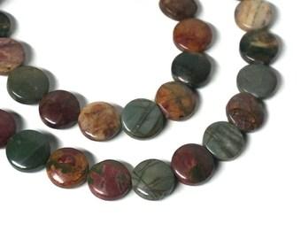 Red Creek Jasper / 12mm coin / natural gemstone beads / 8 inch strand / 968s