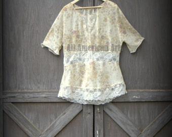 Upcycled, refashioned, repurposed, eco-friendly, ladies top, sheer, size medium/large