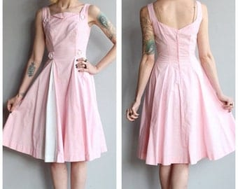 20% Sale 1950s Dress // Cotton Candy Dress // vintage 50s dress