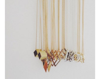 Minimalist Geometric Brass Necklace