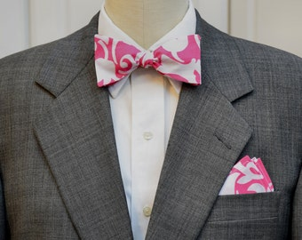 Men's Pocket Square and Bow Tie set in Lilly hot pink Lining Up, wedding party wear, groomsmen gift, groom bow tie set, men's gift set