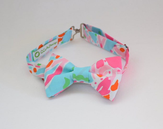Boy's Lilly Bow Tie, pinks and blues Jellies Be Jammin', father/son matching ties, wedding bow tie, toddler bow tie, ring bearer bow tie,