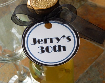 """Birthday Custom 2"""" Thank You Favor Tags - for Mini Wine or Champagne Bottles - Masculine Man Favor Boxes Gift Favors - (70) 2"""" Printed Tags"""