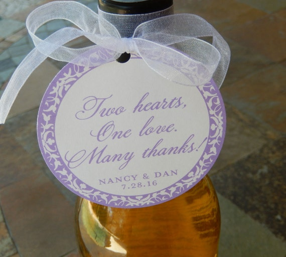 "50 Custom 3"" Wedding Favor Tags - Two Hearts, One Love. Many Thanks! - Personalized Gift Tags - For Wine or Champagne Bottles - Anniversary"