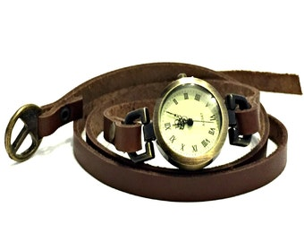 Wrap Around Watch / Leather Wrap Watch / Brown Leather Wrap Watch