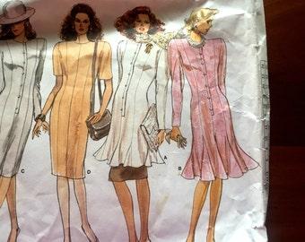80s Vogue 1988 Basic Design Dress Princess Seam, Flared Skirt or Slim Size 8 10 Bust 31 32