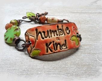 Humble and Kind Ceramic Boho Cuff Bracelet Beaded Bracelet Cuff Handmade
