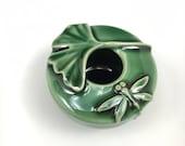 Miniature Dragonfly and Ginkgo Leaf Porcelain Vase