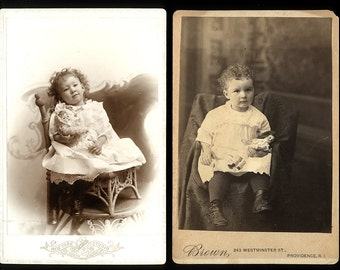 Two Vintage 1890s Cabinet Card Photos - Little Girls Holding Dolls